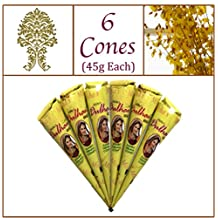 6 Jumbo Cones. Dulhan Gold Henna Paste. No Chemicals No PPD. 45g Ea.
