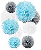 Tissue Paper Pom Poms Light Blue Gray White Decorations - 9Pcs 14'' 12'' 10'' Flower Disco Ball Variety Perfect Decor for Boy Baby Shower Graduation Gender Reveal Birthday Topper Baptism Bautizo Weddings