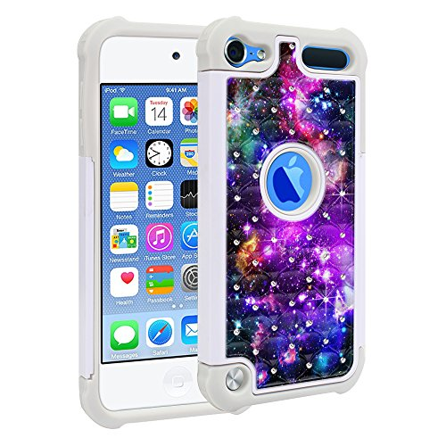 Apple iPod Touch 5 iPod Touch 6 (6th Generation) Case, Fincibo (TM) Dual Layer Shock Proof Hybrid Hard Protector Cover Anti-Drop Silicone Star Studded Rhinestone Bling, Purple Marvel Nebula Galaxy