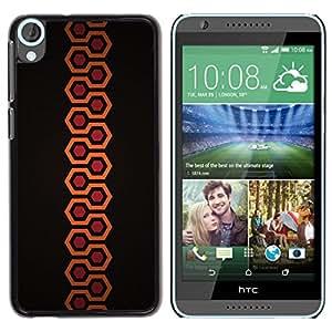 Be Good Phone Accessory // Dura Cáscara cubierta Protectora Caso Carcasa Funda de Protección para HTC Desire 820 // Minimalist Orange Hexagon Pattern