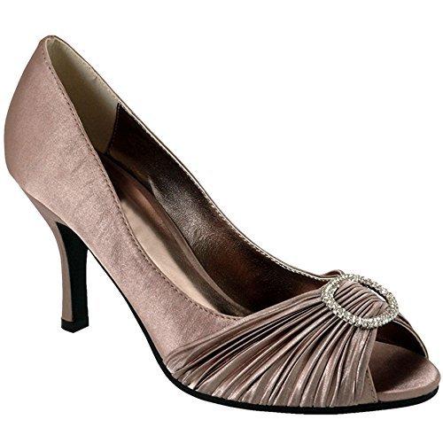 Sapphire - Zapato de Tacón con Punta Abierta para Mujer con Detalle de Diamantes de Imitación y Bolso de Mano con Broche con Efecto Ondulado para Mujer Champán (SOLO ZAPATOS)