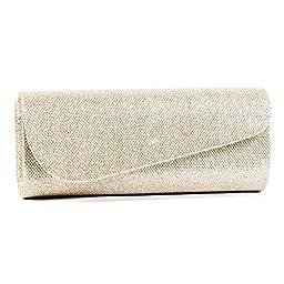 Damara Womens Oblique Flap Glitter Clutch Handbags (Gold)