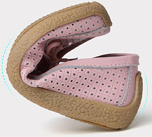 Loafer Flats Shoes Women, Casual Breathable Holes Leather Work Pumps 4 Colors Size 5.5-8.5 Pink