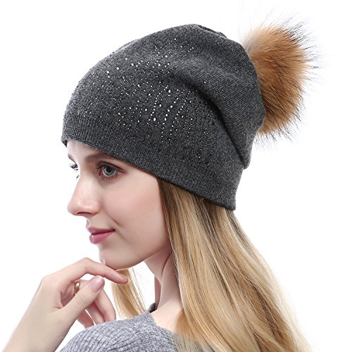Queenfur Women Wool Beanie - Real Raccoon Fur PomPom Hat Winter Fashion Knit Cashmere Blend Hats With Rhinestones (Dark Grey)