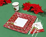 Christmas Disposable Dinnerware for 40 Guests, 280 Pieces Set of Paper Plates, Cups, Napkins, Plastic Forks and Knives.