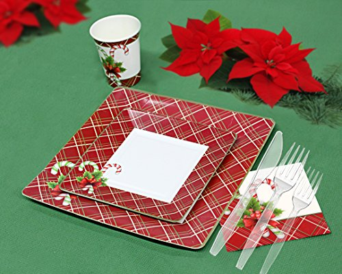 Christmas Disposable Dinnerware for 80 Guests, 560 Pieces Set of Paper Plates, Cups, Napkins, Plastic Forks and Knives.