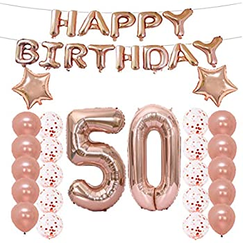 LQQDD 50th Birthday Decorations Party Supplies50th Balloons Rose GoldNumber 50 Mylar