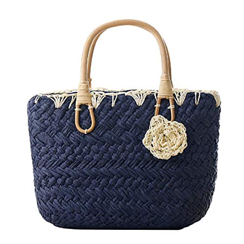 Pequeña Green Mano Dark Playa Paja Adorable Fruit color Blue Tejido De Flor Aredovl A Bolso 7tCzwqqH