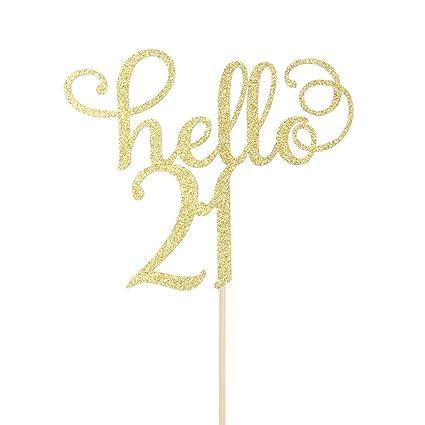 Amazon Hello 21 Cake Topper 21st Birthday Wedding Anniversary