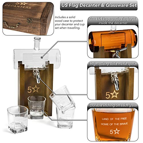 5 Star Decanters, 850mL Scotch Whiskey American Flag Decanter Set - Includes Liquor Dispenser, 4 Etched Whiskey Glasses, Wooden Stand, Stainless Steel Ice Cubes, Ice Tongs, Drinking Memento Booklet by 5 Star Decanters (Image #5)