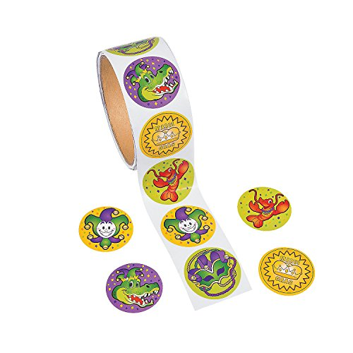 Mardi Gras Stationery - Fun Express - Mardi Gras Roll Sticker for Mardi Gras - Stationery - Stickers - Stickers - Roll - Mardi Gras - 100 Pieces