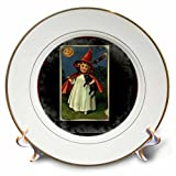 3dRose cp_6195_1 Vintage Halloween Witch Girl and Black Cat Porcelain Plate, 8-Inch