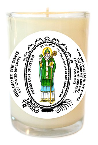 Saint Patrick Patron of Ireland 8 Oz Scented Soy Glass Prayer Candle by Touched By The Saints