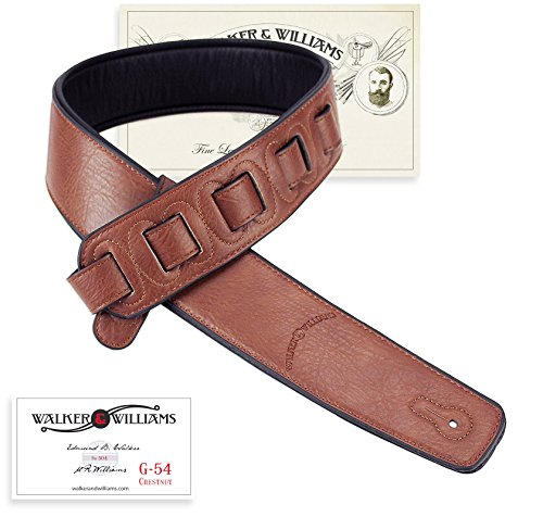 Walker & Williams G-54 Chestnut Brown Guitar Strap with Padded Glove Leather ()