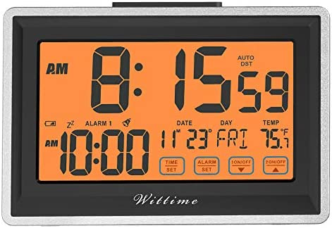 Wittime Digital Alarm Clock with Large Clear Display,Desk Clock with Time Date Display,Bedside Clock for Kids Seniors,Snooze Function,Battery Operated WT-5100