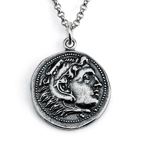 Azaggi Sterling Silver Handcrafted Alexander III The Great Coin Pendant Necklace