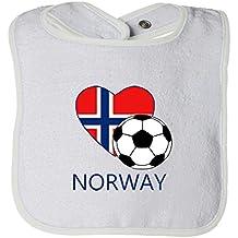 Cute Rascals Love Soccer Heart Norway #2 Tot Contrast Trim Terry Bib