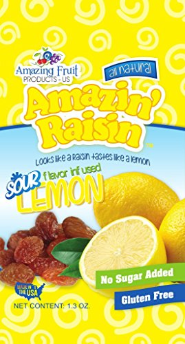 Amazin' Raisin Sour Lemon Flavor Infused Raisins 1.3-ounce Bag (Case of 50) by Amazin Raisin