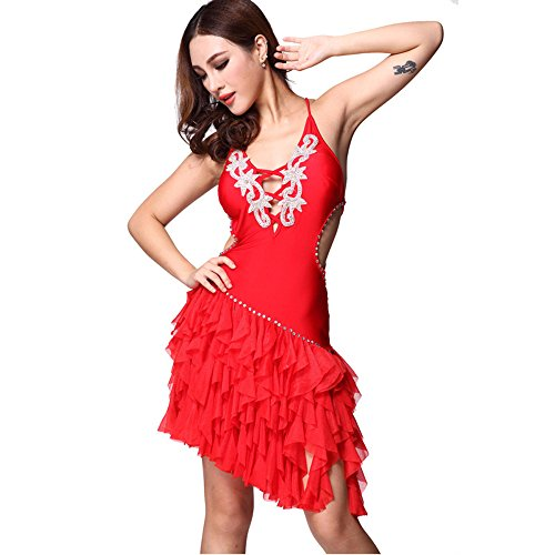 Latin Dance Embroidery Sling Dress Ballroom Rhinestone Skirt Competition Prom Wear red (Competition Dance Costume For Sale)