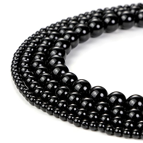 8mm Natural Black Onyx Beads Round Loose Gemstone Beads for Jewelry Making Strand 15 Inch (47-50pcs) ()