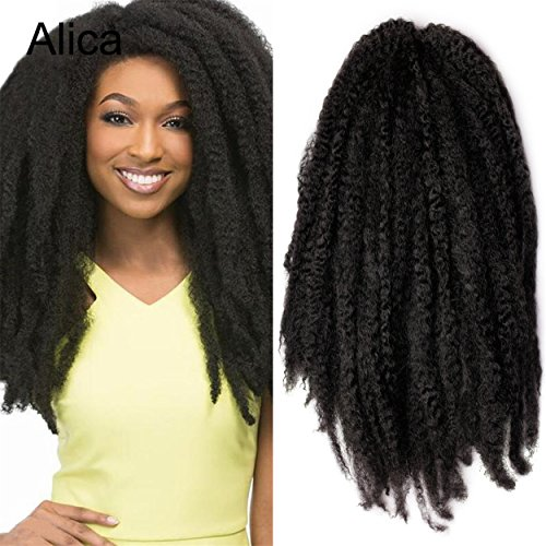 "Alica 3 Packs Afro Kinky Marley Braids Hair Extensions Kanekalon Synthetic Twist Crochet Braiding Hair for Women 18 inchs (18"", 1B)"