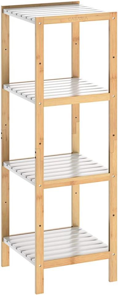 Casaria Estantería de bambú para baño Cocina librería con 3 4 o 5 estantes almacenaje Blanco 80/110/140x33x34cm Natural