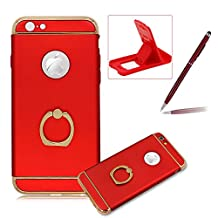 3 in 1 Plating Case for iPhone 6S Plus,Full Body Hard Back Cover for iPhone 6 Plus with 360 Rotating Ring Holder,Herzzer Luxury [Electroplating Technology] PC Texture Back Case,Red