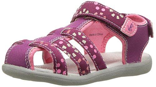 See Kai Run Girls' Paley Webbing Sport Sandal, Magenta, 4 M US (Kids Magenta Apparel)