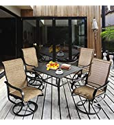 Aoxun Outdoor Patio Dinning Set - 5 Pieces Outdoor Furniture Set, 4 Pieces Swviel Rocing Chairs a...