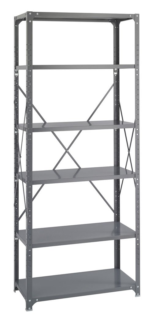 Safco Products 6252 Industrial Shelving 36''W x 18''D Shelves, (Qty. 6) Kit with 6256 Industrial Shelving Post Frame, Gray