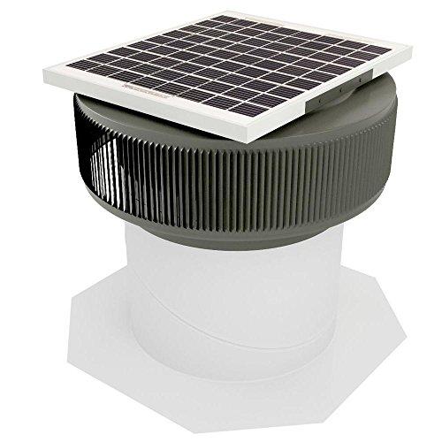 Active Ventilation 12 in. Aluminum Round 10 Watt Solar-Powered Roof Exhaust Fan in Weatherwood