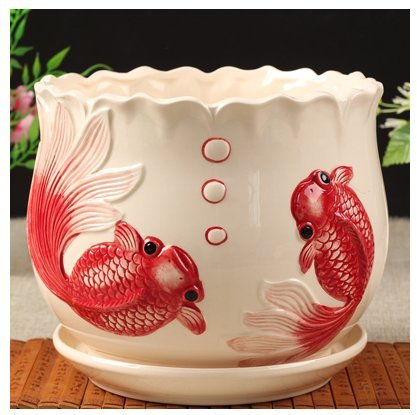 Ceramic Home Garden Modern Flower Planter Pot with Saucer Tray – Outside Red Fish Design