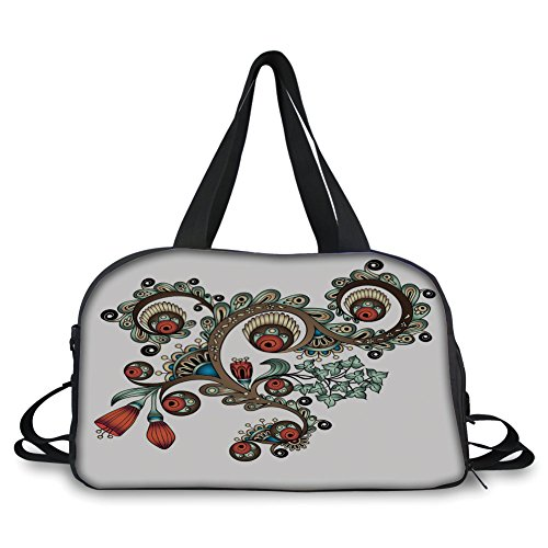 (Travel Handbag,Henna,Doodle Style Floral Pattern Vibrant Color Palette Asian Culture Decorative,Burnt Sienna Brown Almond Green ,Personalized)