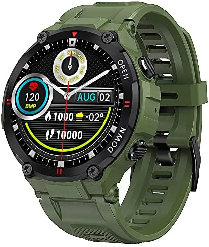 Smart Watch for Men Outdoor Waterproof Military Tactical Sports Watch Fitness Tracker Watch with Heart Rate Monitor Pedometer Sleep Tracker Compatible with iPhone Samsung