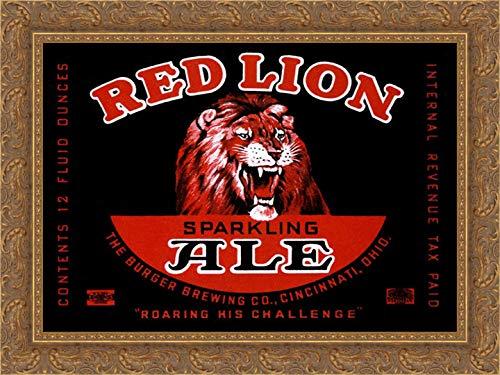 Red Lion Ale 24x19 Gold Ornate Wood Framed Canvas Art by Vintage Booze Labels ()