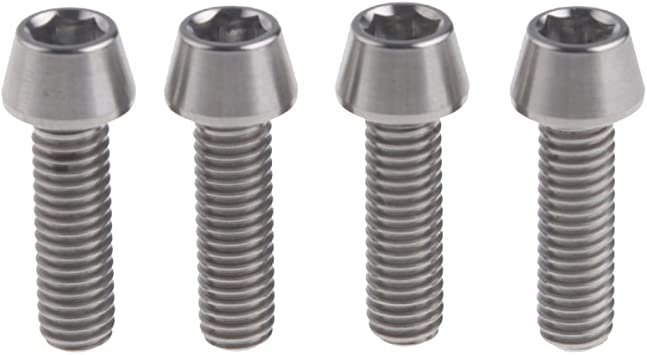 M6x16mm Titanium Ti Hex Allen Tapered Bike Bolt Screw with Washers