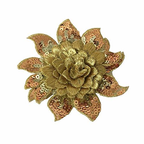 1 parche de flores con lentejuelas bordadas para manualidades (diámetro: 8 cm), Dorado