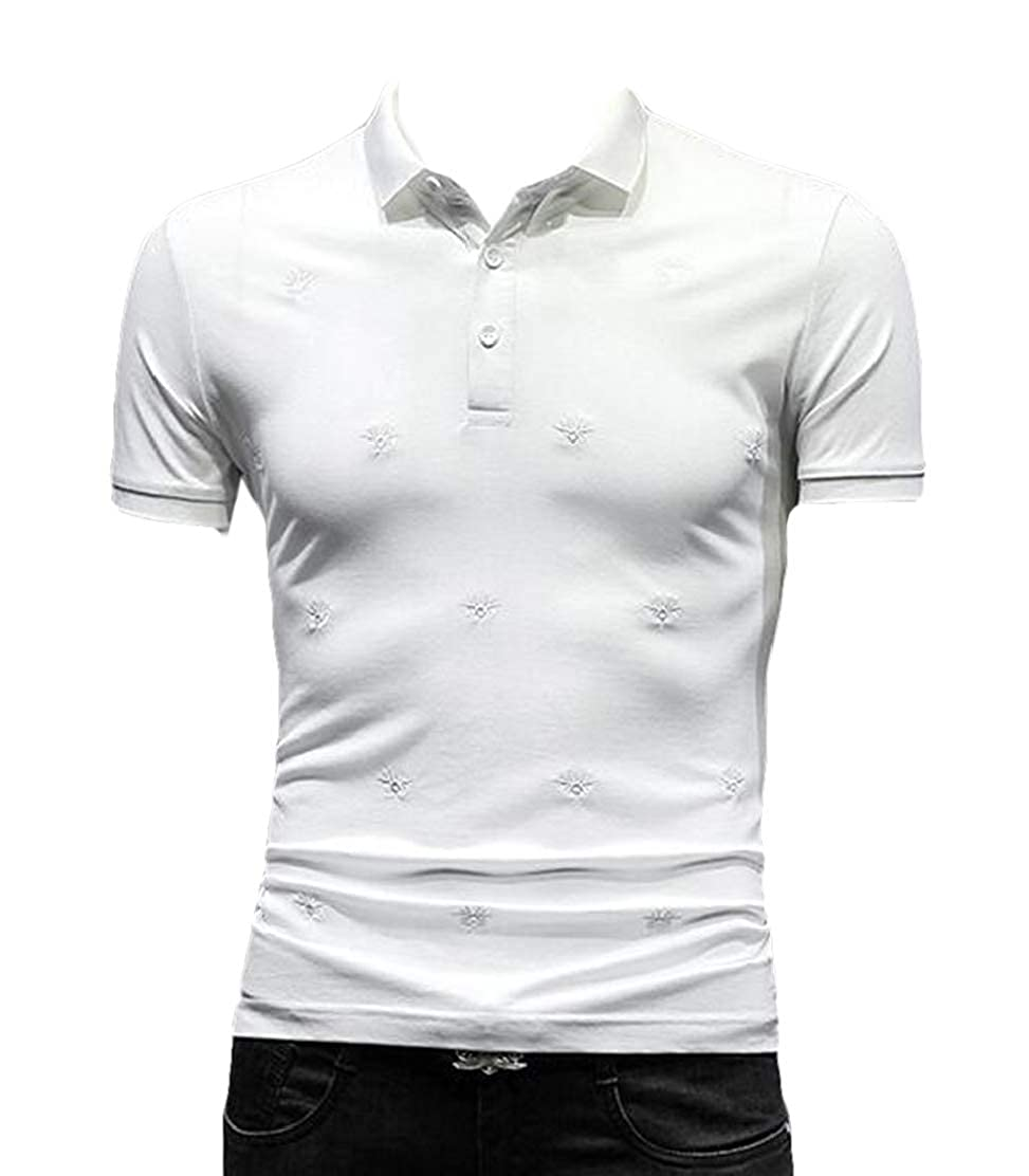 JXG Men Wear to Work Short Sleeve Slim Fit Lapel Embroidery Polo Shirt