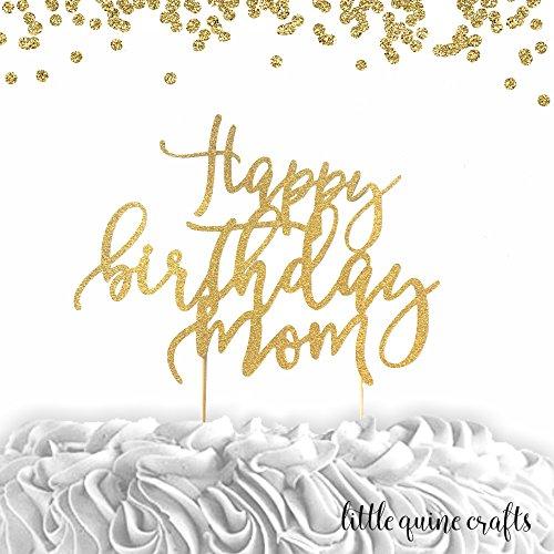 1 pc Happy Birthday Mom Gold Silver Glitter Cake Topper (Mom Glitter)