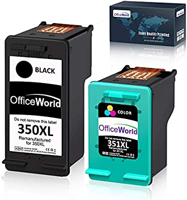 OfficeWorld Cartuchos de tinta remanufacturados HP 350XL 351XL para HP Deskjet D4260 D4360, HP Officejet J5780 J6410, HP Photosmart C4280 C4340 C4380 ...