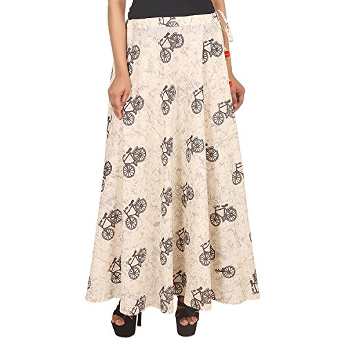 Export Indian Printed Handicrfats Cream Skirt Long Women Girls for vwqT7w5R6