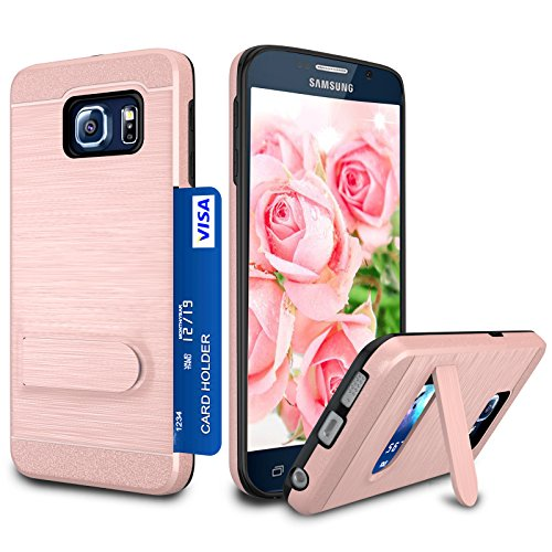 Galaxy S6 Case, S6 Card Holder Cover, Jeylly Rose Gold [Metal Satin] Card Holder with Kickstand Hybrid Dual Layer Hard Plastic + Soft TPU Drop Protection Case Cover for Samsung Galaxy S6 G920
