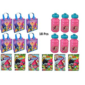 Assorted Party Favor Trolls Small Non-Woven Tote Bag, 17 oz. Pull Top Water Bottle & Grab N Go Game Set- 18 Pcs - 516cRlIxnhL - Assorted Party Favor Trolls Small Non-Woven Tote Bag, 17 oz. Pull Top Water Bottle & Grab N Go Game Set- 18 Pcs