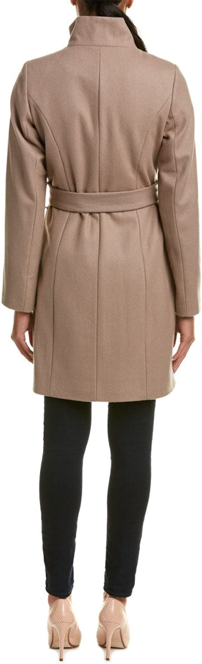 T Tahari Womens Isabelle Asymmentrical Wool Coal with Belt