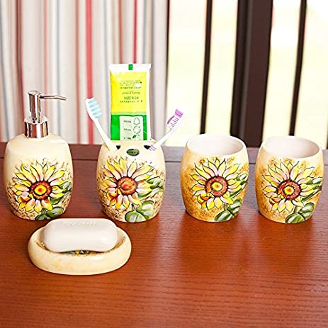 Brandream Colorful Sunflower Bathroom Accessories Set Luxury Bathroom Sets  Ceramic