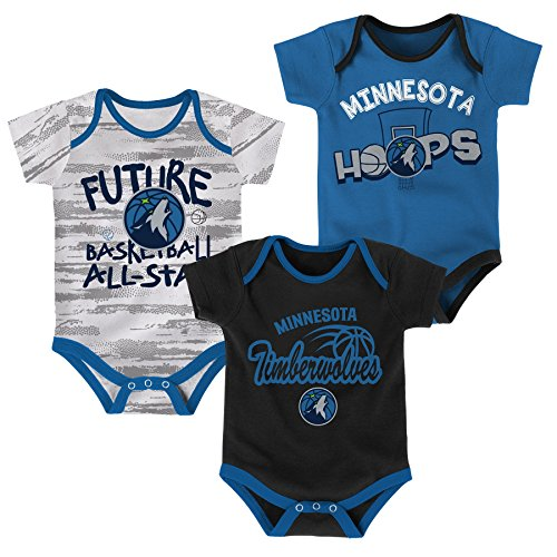 fan products of NBA Newborn & Infant 3 Piece Onesie Set Minnesota Timberwolves-Dark Navy-3-6 Months