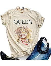 Womens Vintage Queen Shirt Summer Cute Short Sleeve Casual Graphic Tees