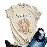 SurBepo Womens Vintage Queen Shirt Summer Cute Short Sleeve Casual Graphic Tees(L, Ayellow)