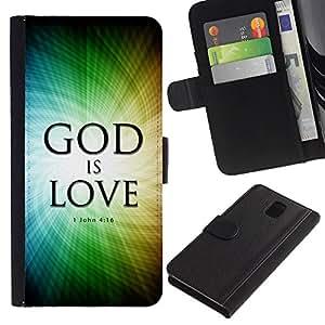 Billetera de Cuero Caso Titular de la tarjeta Carcasa Funda para Samsung Galaxy Note 3 III N9000 N9002 N9005 / BIBLE God Is Love - John 4:16 / STRONG
