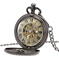 SIBOSUN Steampunk Skeleton Mechanical Black Fob Retro Pocket Watch Magnifier Antique Men Roman Numerals